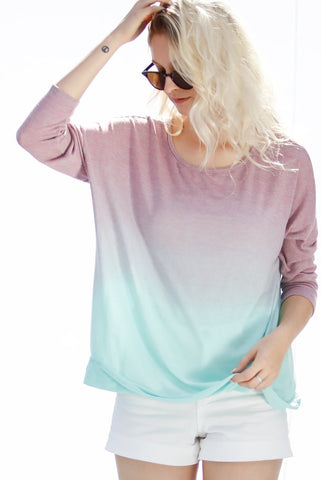 3/4 Sleeve Casual Tie Die Top - Lavender/Mint