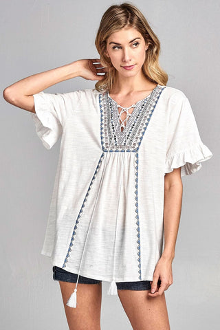 Boho Lace Up Ruffle Sleeve with Aztec Embroidery Top - White
