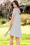 Striped Jersery Knit Tunic Dress - Ivory/Black