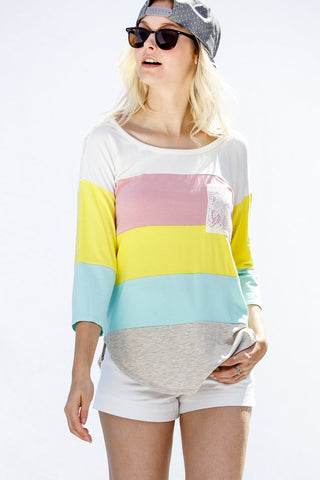 3/4 Sleeve Multi Striped Lace Pocket Top - Yellow