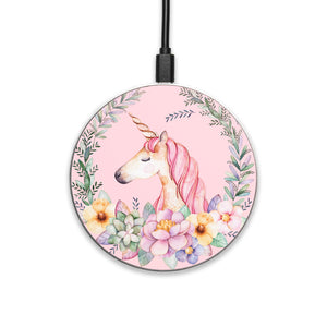 Floral Unicorn - hyvela - Qi Enabled Wireless Charging Pad