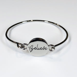 "Lucky Owl ""Believe"" Bangle Bracelet"