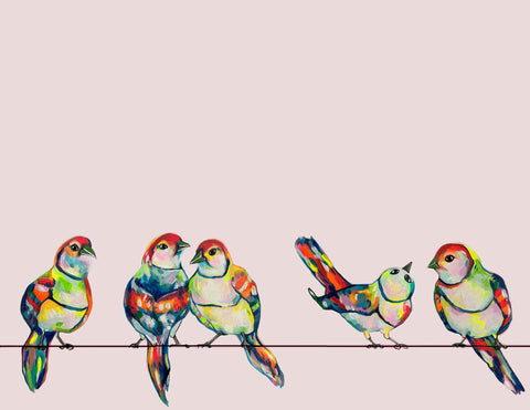five birds sitting on a wire painted in tropical, bright colors