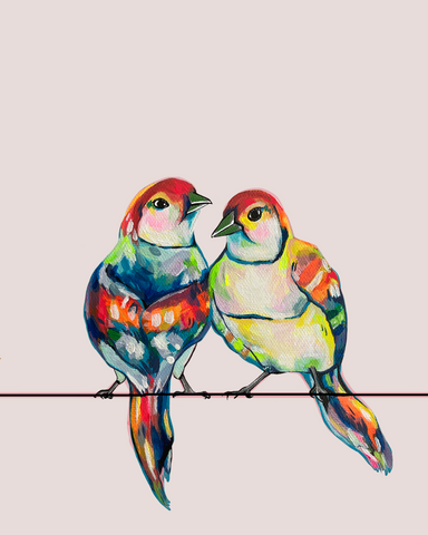 two brightly painted lovebirds sitting on a wire