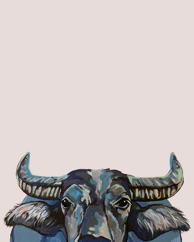 Wally the Water Buffalo, a timid and shy guy is hiding from the viewer, and takes up to about 1/3 of the print space
