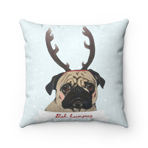 Holiday Pups - Bah Humpug Faux Suede Square Pillow