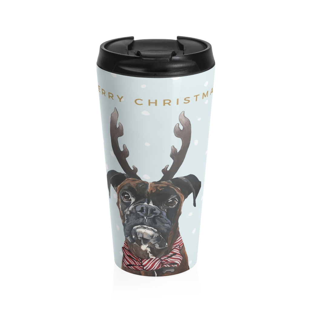 Holiday Pups Stainless Steel Travel Mug - Boxer