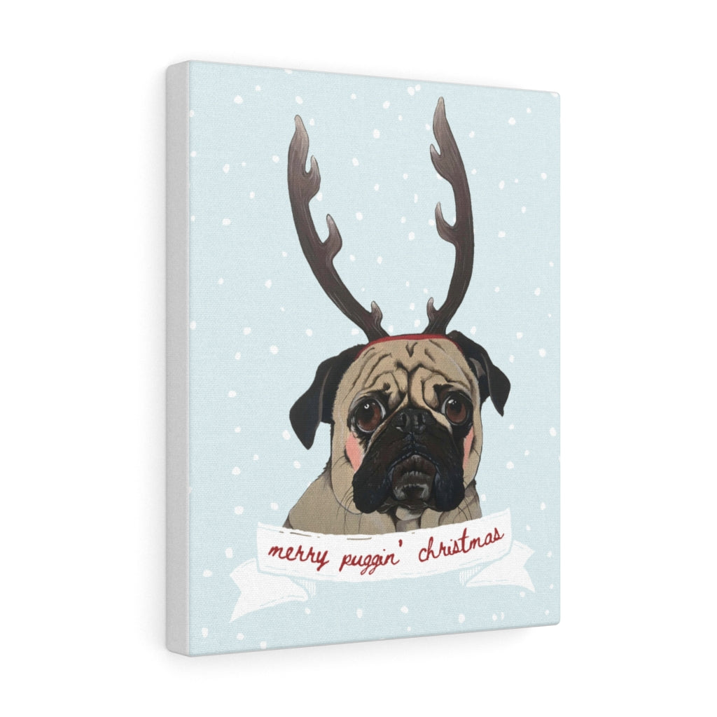 Holiday Pups - Merry Puggin' Christmas on Canvas Gallery Wrap