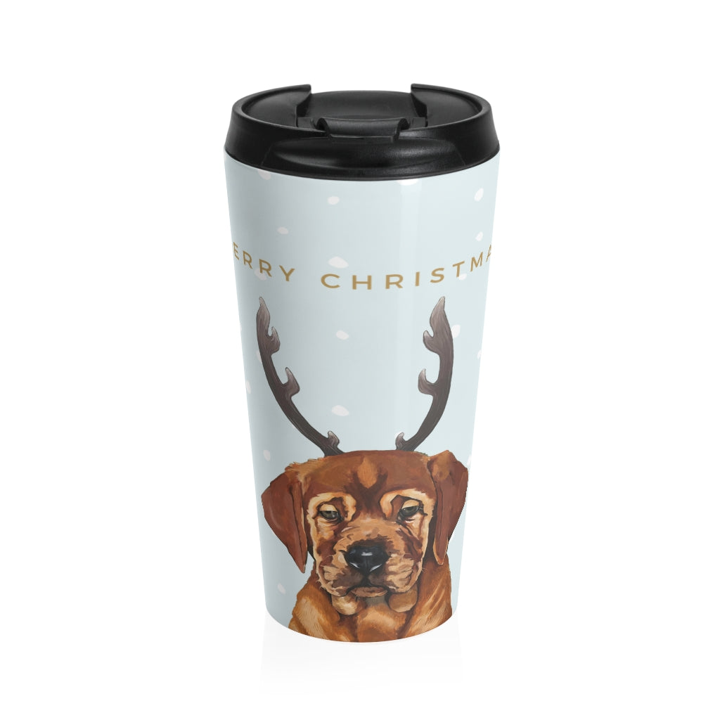 Holiday Pups Stainless Steel Travel Mug - Auggie