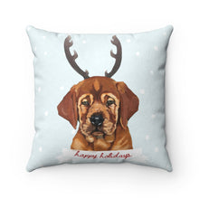 Load image into Gallery viewer, Holiday Pups - Auggie Faux Suede Square Pillow