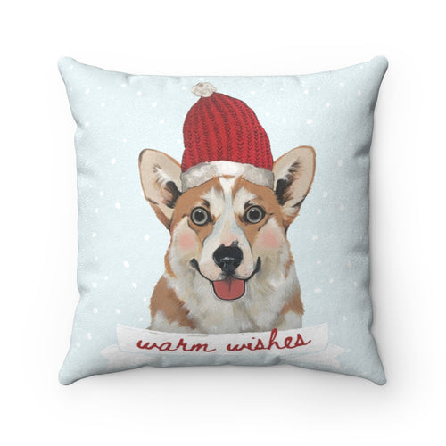 Holiday Pups - Corgi Faux Suede Square Pillow