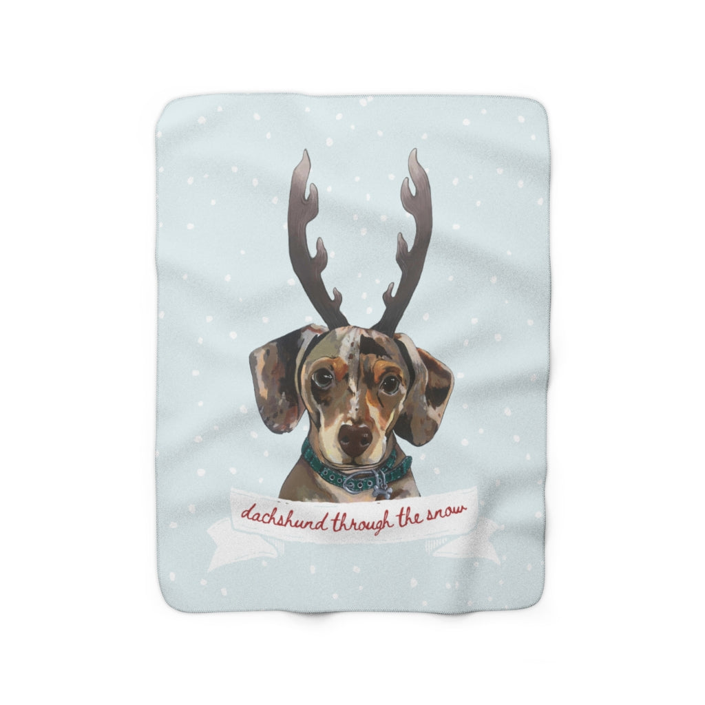 Holiday Pups - Dachshund Sherpa Fleece Blanket