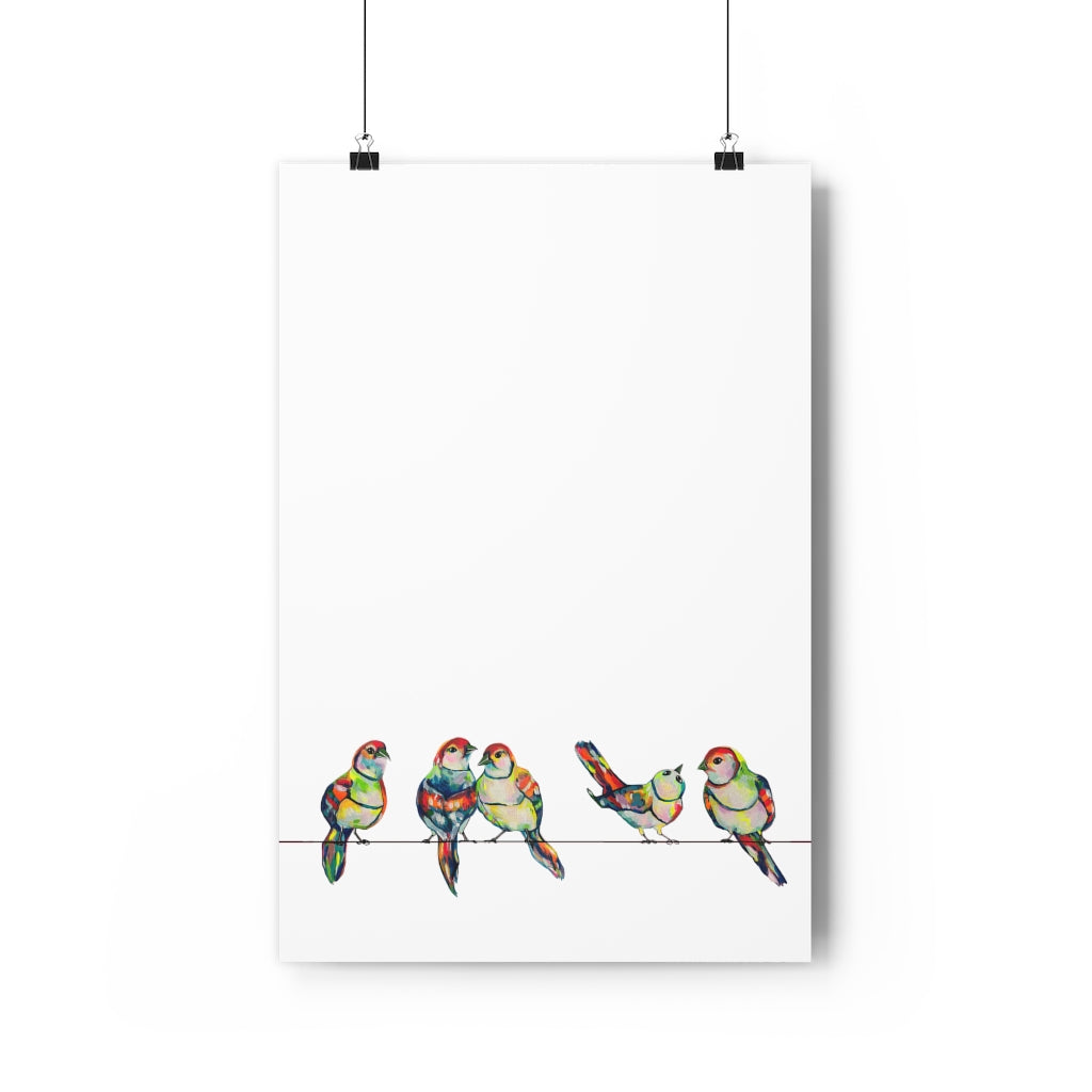 Hotwire Birds Vertical Giclée Art Print