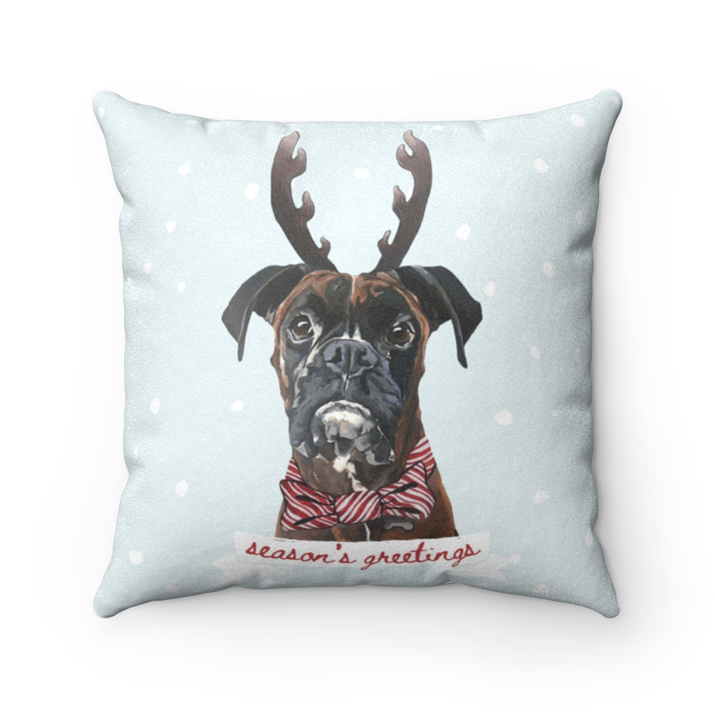 Holiday Pups - Boxer Faux Suede Square Pillow