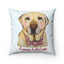 Load image into Gallery viewer, Holiday Pups - Lab Faux Suede Square Pillow