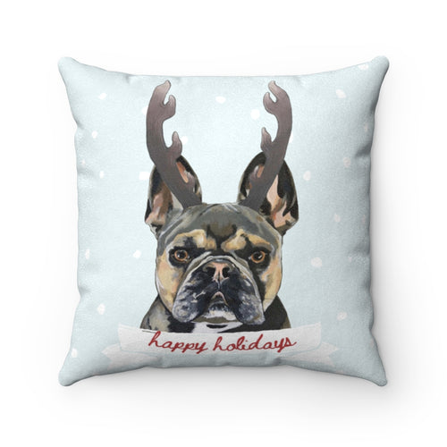 Holiday Pups - XCII Brothers Faux Suede Square Pillow
