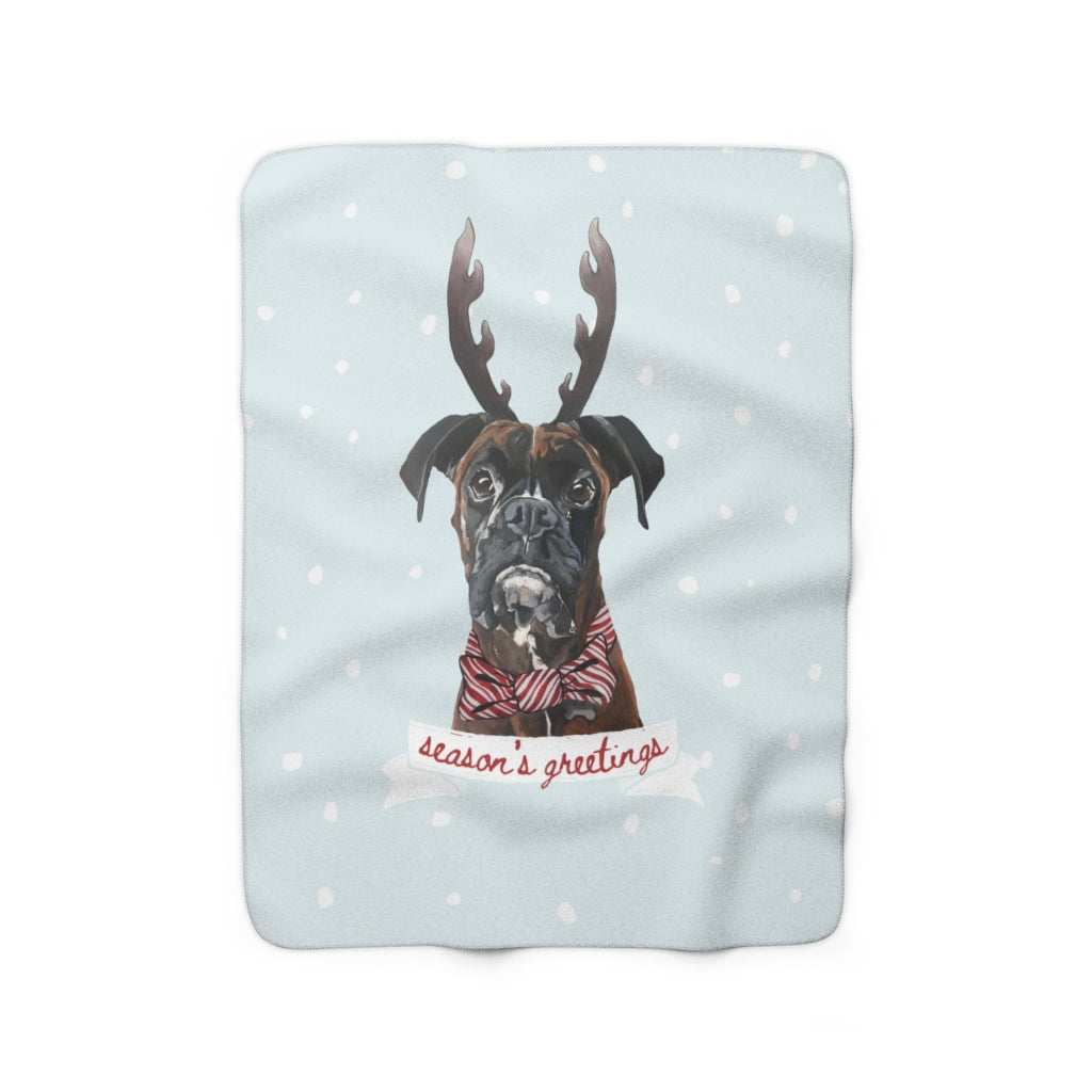 Holiday Pups -  Boxer Sherpa Fleece Blanket