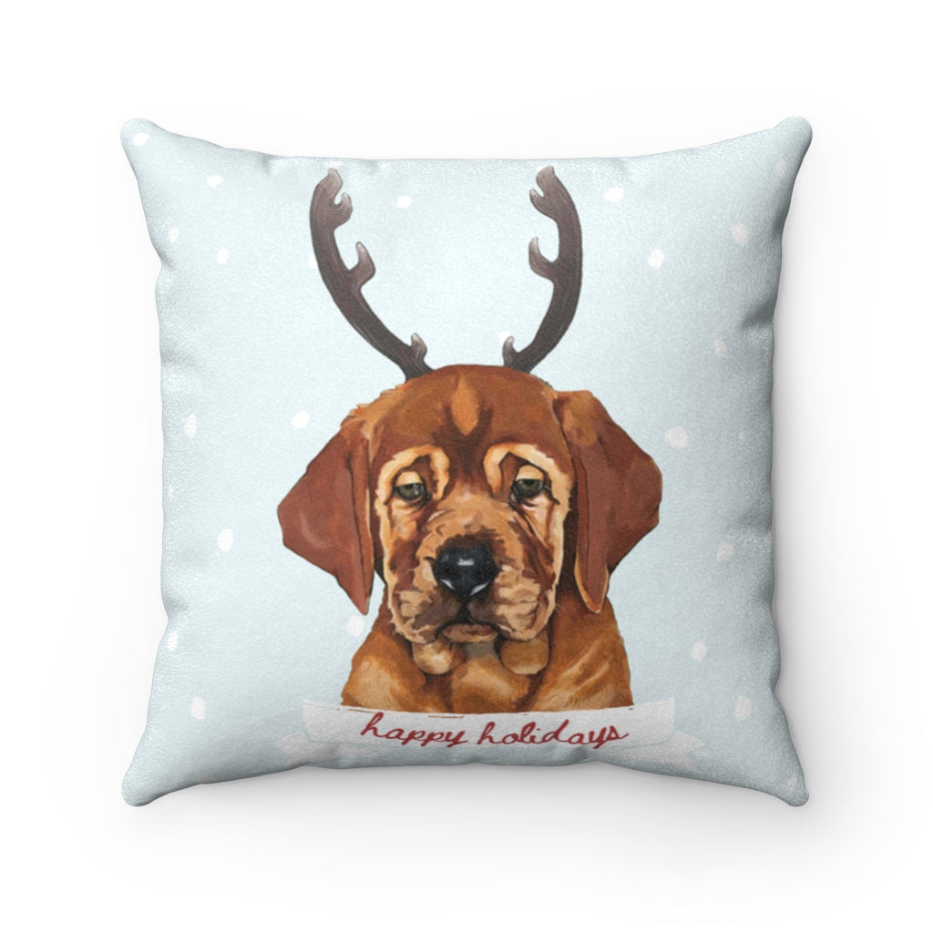 Holiday Pups - Auggie Faux Suede Square Pillow
