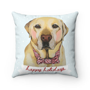 Holiday Pups - Lab Faux Suede Square Pillow