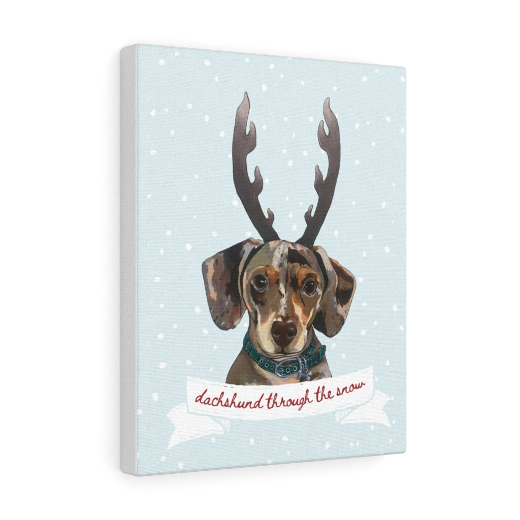 Holiday Pups - Dachshund Through The Snow on Canvas Gallery Wrap