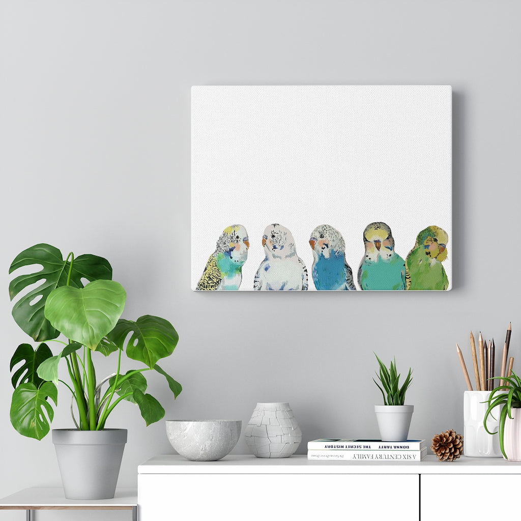 Parakeet Party on Canvas Gallery Wrap