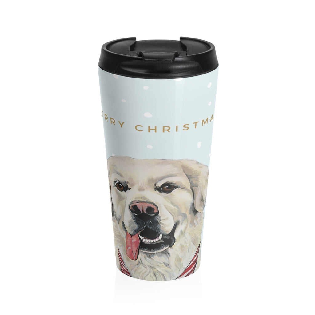 Holiday Pups Stainless Steel Travel Mug - Golden Retriever