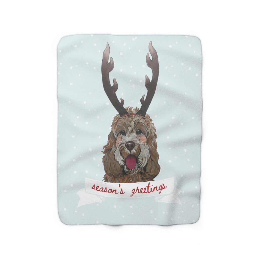 Holiday Pups - 'Doodle Sherpa Fleece Blanket