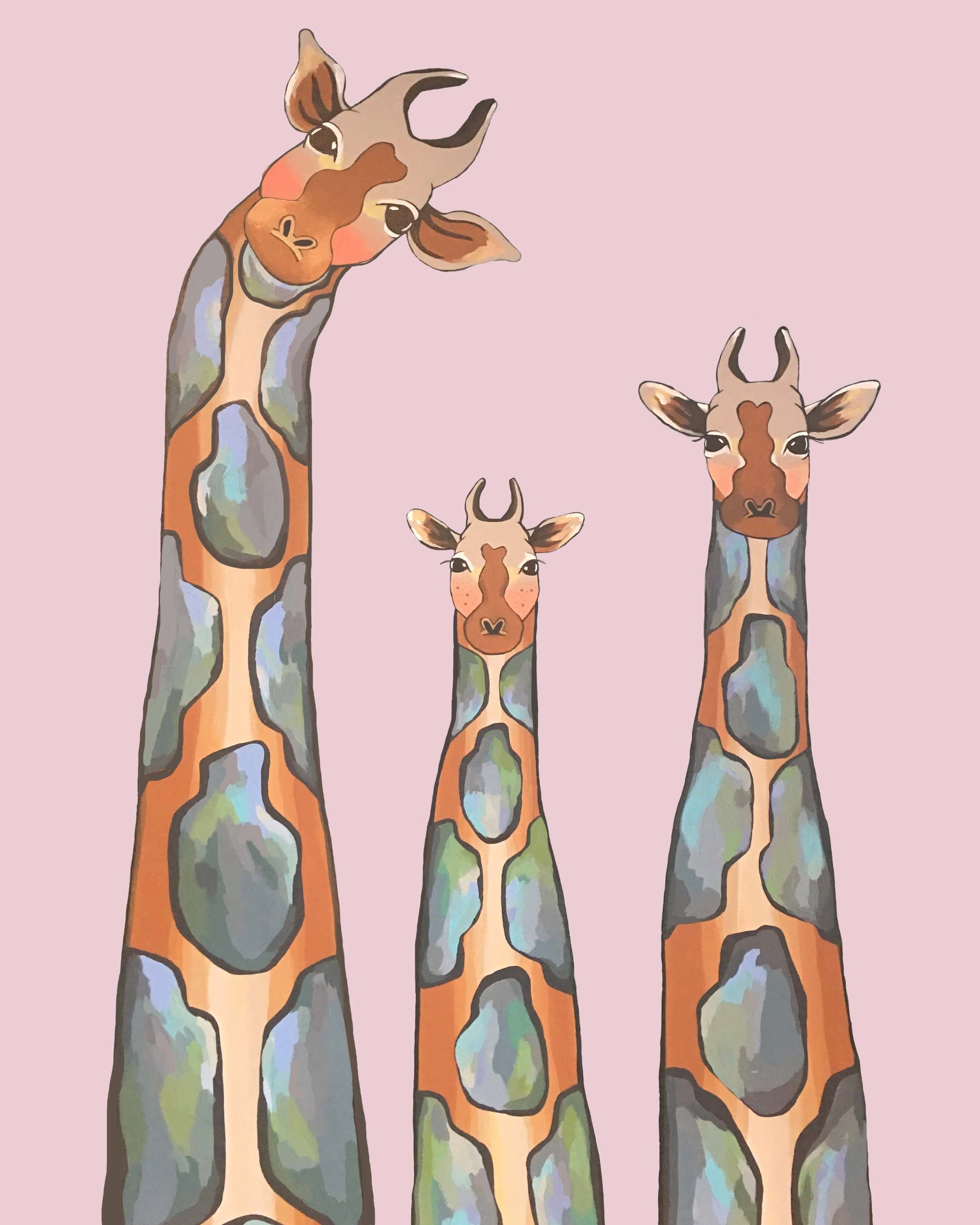 Print - the Jefferson Family of Giraffes