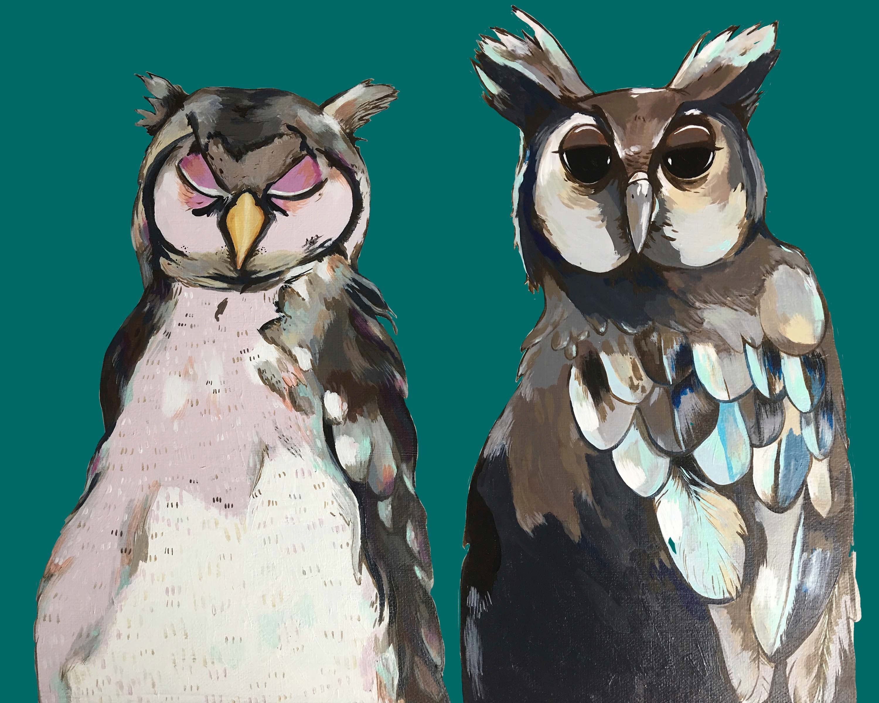 Print - Two Old Hoots