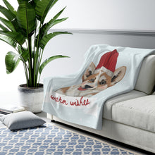 Load image into Gallery viewer, Holiday Pups - Corgi Sherpa Fleece Blanket