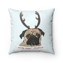 Load image into Gallery viewer, Holiday Pups - Merry Puggin' Christmas Faux Suede Square Pillow
