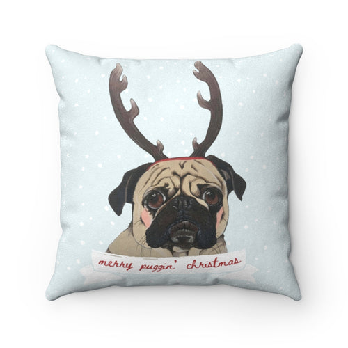 Holiday Pups - Merry Puggin' Christmas Faux Suede Square Pillow