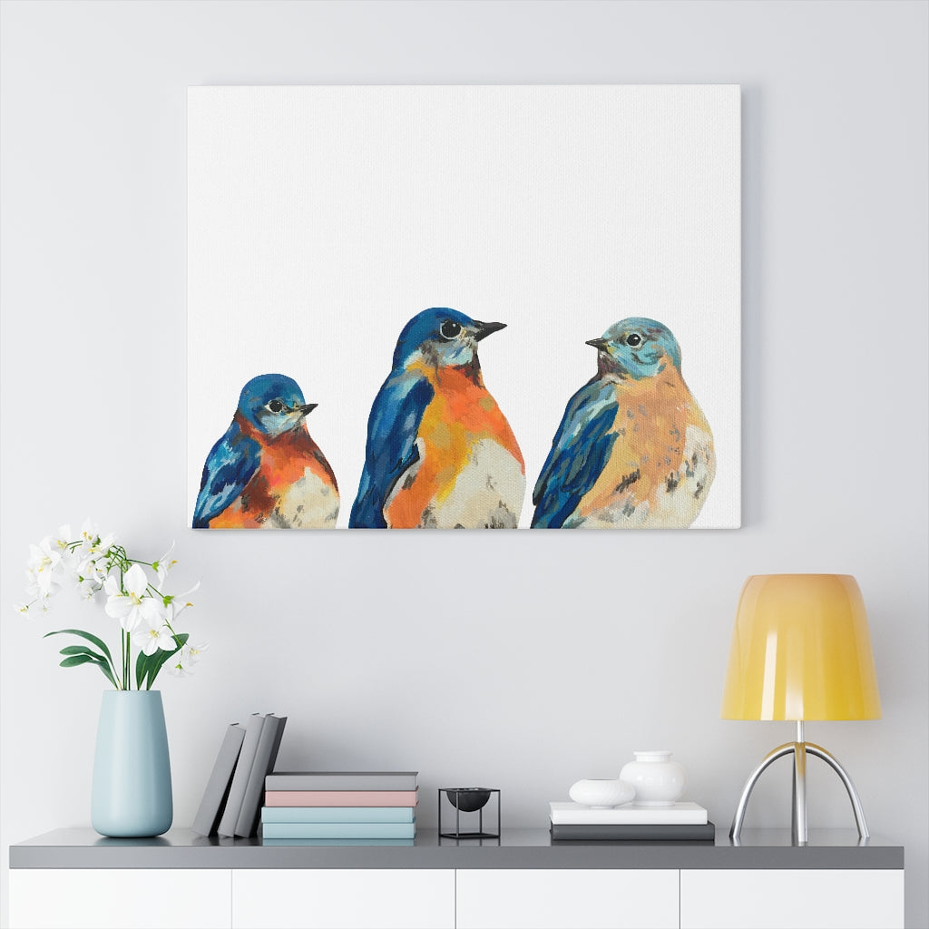 Three Bluebirds on Canvas Gallery Wrap