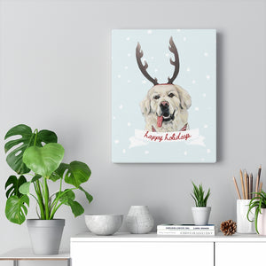 Holiday Pups - Golden Retriever on Canvas Gallery Wrap