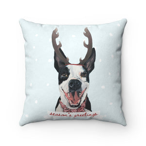 Holiday Pups - Walker Faux Suede Square Pillow Tucker