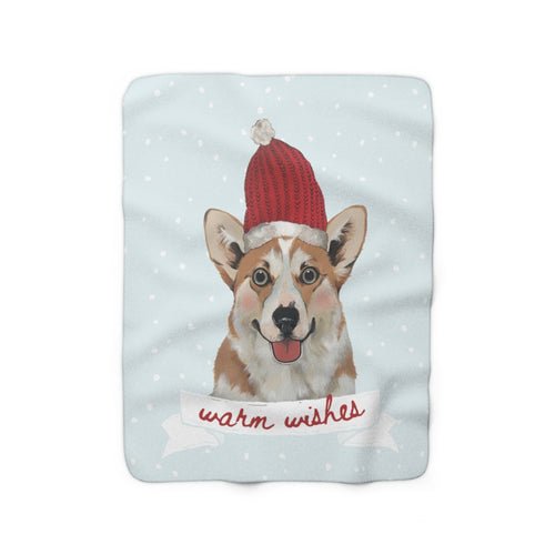 Holiday Pups - Corgi Sherpa Fleece Blanket