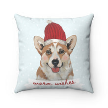 Load image into Gallery viewer, Holiday Pups - Corgi Faux Suede Square Pillow