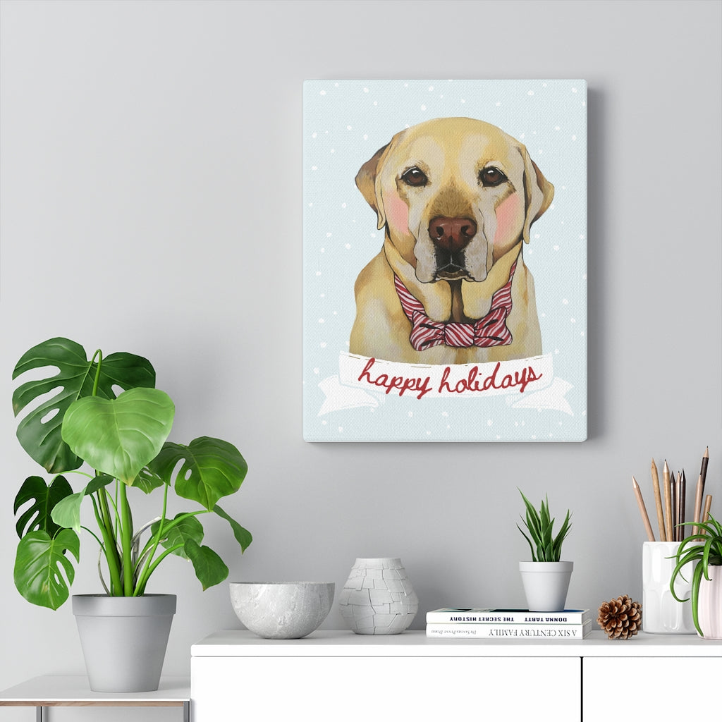 Holiday Pups - Lab on Canvas Gallery Wrap