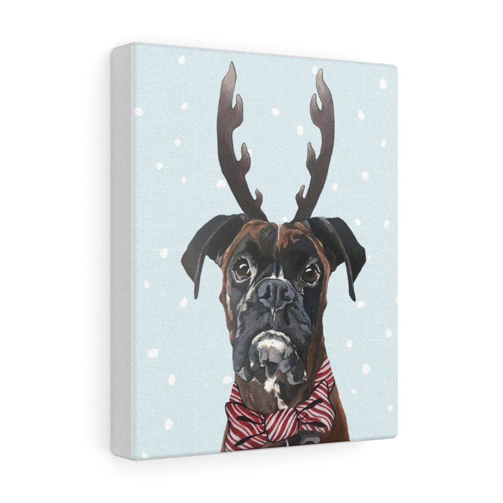 Holiday Pups - Boxer on Canvas Gallery Wrap
