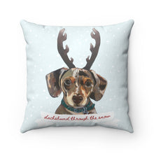 Load image into Gallery viewer, Holiday Pups - Dachshund Through the Snow Faux Suede Square Pillow