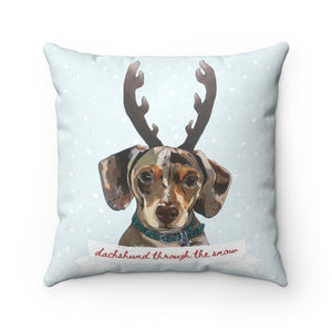 Holiday Pups - Dachshund Through the Snow Faux Suede Square Pillow