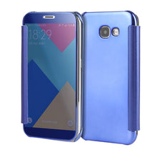 A5 A7 Case PC View Windows Ultra Thin Flip Case Luxury Plating Mirror Cover Bag For Samsung Galaxy J3 J5 J7 Fundas Phone Cases