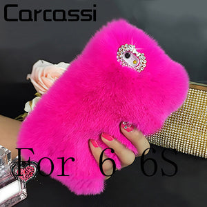 "Luxury fluffy Winter Phone Cover Case for 5 5s case For iphone 6 6S 4.7"" 6 Plus 6S Plus 5.5""  Cover Hair Soft fur Skin Back Case"
