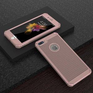 Heat dissipation Phone Cases for iphone 7 6 6s Plus Case Shockproof Soft 360 Full Body Cover Protective Phone Shell + Glass Film