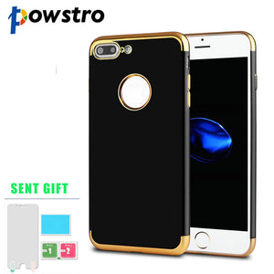 Powstro Phone Case Soft TPU Transparent Electroplate Edge Cover Accessories with Film For iPhone 7 Plus Phone Case Sent Protecto