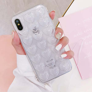 Cute Candy Color Phone Cases For iPhone X Case 3D Love Heart Soft TPU Back Cover Coque For iPhone 10 Fitted Cases with Lanyard