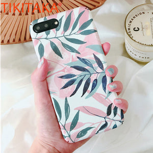 Fashion Artistic Leaf Phone Cases For iPhone 8 7 6 6s Plus 5 5s SE Case Slim frosted Hard Fitted Cases For iPhone X leaves Cover