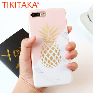 Pineapple Phone Cases For iphone 6 Fitted Cases Marble Texture Geometric Splice Case For iphone 8 7 6 6s Plus Soft IMD TPU Cover