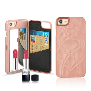 7 Plus Luxury 3D Mirror Wallet Case For Iphone 7 7 Plus Cover Fashion Lady Makeup Mirror PU Leather Flip Card Slot Holder Stand