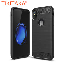 Phone Cases For iphone X Case Environmental Carbon Fiber Soft TPU Brushed Wire Drawing Silicone Cover Shockproof Armor Shell New